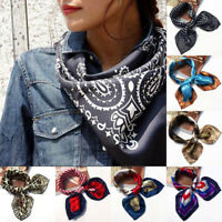 Small Vintage Head Neck Hair Tie Band Women Elegant Square Silk Feel Satin Scarf