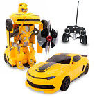 Kids RC Toy Sports Car Transforming Robot Remote Control Yellow 1:14 Scale Used