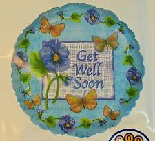"""Get Well Soon Foil Balloon 18"""" Round Blue Flowers Butterfly Decoration"""