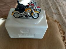 "Harley Davidson Snow Village Department 56 ""Fatboy & Softail""."