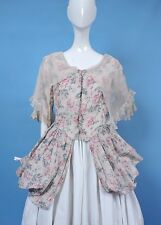 VICTORIAN 19TH C ROSE PRINT POLONAISE BUSTLE DRESS BODICE IN 18TH C STYLING