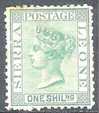 Sierra Leone 1872 green 1/- crown CC sideways perf 12.5 no gum mint SG10