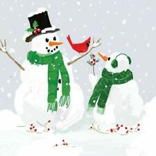 """Paperproducts Design """"Snowmen and Cardinal"""" Paper Cocktail/Beverage Napkins"""