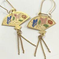 Vintage Cloisonne Fan Dangle Pierced Earrings Butterfly Love Flower