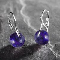 925 Sterling Silver Leverback Earrings Gemstone Ball Round 10 mm Lapis Lazuli