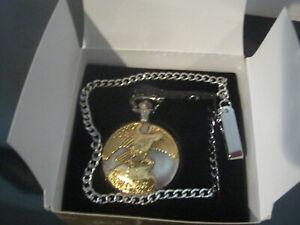 AVON Men's Eagle Covered Quartz Pocket WATCH 2000 Vintage NEW in Box