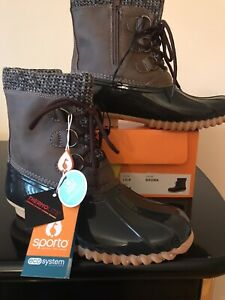 New Duck Boots Sporto Lila Eco system Thermolite Brown lace/zip rain/snow size 7