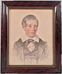 Mid 19th Century English School Colored Pencil Portrait Of A Boy