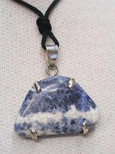 Ciondolo in ARGENTO 925 con SODALITE naturale e girocollo - pietra dura blu -