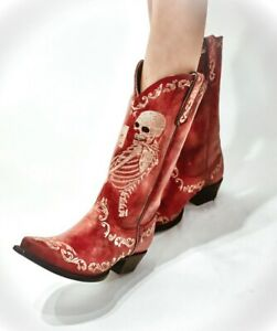 """YL 348-3 YIPPEE KI YAY BY OLD GRINGO BOOTS SELFIE CHERRY RED EMBROIDERED 13"""""""