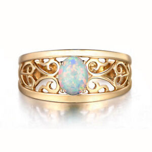 14KT Gold With 1.00Ct Oval Cut Natural Australian Full Fire Opal Solitaire Ring