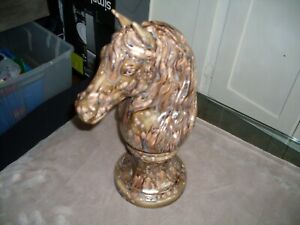 Giant Knight Chess type  Piece 16  - Ceramic Horse Head Sculpture / Bust