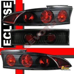 95-99 Mitsubishi Eclipse GT Black Tail Lights Lamps 1 Pair