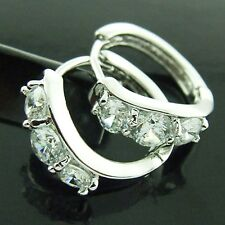 FS162 REAL 18K WHITE GOLD G/F SOLID DIAMOND SIMULATED HUGGIE STUD HOOP EARRINGS