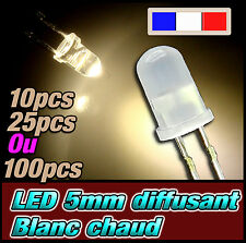 419D# LED 5mm blanc chaud diffusant ronde - dispo 10, 25 ou 100pcs - warm white