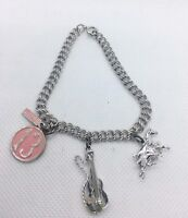 Sterling Silver Charm Bracelet Sterling Charms Movable Horse Guitar Vtg Jewelry