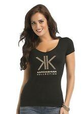 New Kardashian Kollection Women's XS Black Rhinestone Short Sleeve T-Shirt Top
