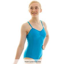 Girls Sleeveless Ballet Dance Leotard with Spaghetti Straps Shiny Nylon Lycra