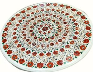 """Red Stone Inlay Work Dining Table Top White Round Stone Patio Table for Home 48"""""""