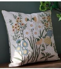 Embroidery Flower Bird Cotton Linen Cushion Pillow Cover Square 45×45cm