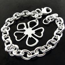 Link Five Leaf Glover Charm Design Bracelet Bangle Real 925 Sterling Silver S/F