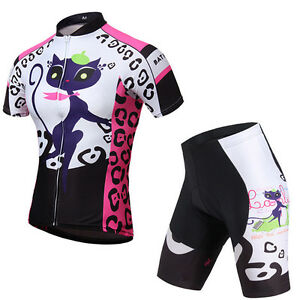 Women's Sports Cycling Jerseys & Shorts Sets MTB Bike Bicycle Clothing Kit Pink