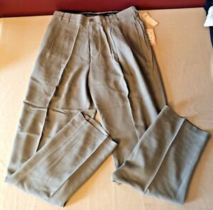 Tommy Bahama The Fishbone Almond Mens 100% Silk Slacks Pants Sz 32 NEW NWT