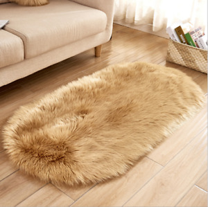 Deluxe Soft Modern Faux Sheepskin Shaggy Area Rugs Children Play Carpet Oval