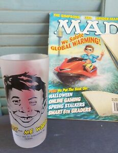 RARE -Monkeys of Melbourne- MAD Magazine Alfred E Neuman -Frosted Glass Tumbler
