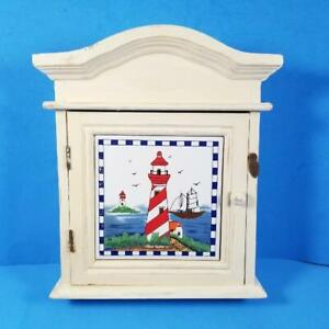 Lighthouse Key Holder Box Wall Mount Hooks Wood Nautical Decor Coastal Beach Art