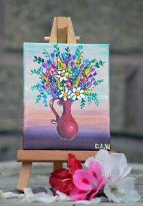 Original Acrylic Miniature Canvas Painting Easel included Terracotta Pot FLOWERS