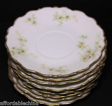 BAWO AND DOTTER Elite LIMOGES BWD456 Set of 8 Saucers Green Floral Gold