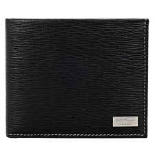 Ferragamo Embossed Leather Bifold Wallet with Coin Case - Nero