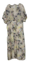 Equipment Womens Faux Wrap Dress Yellow Black Paint Splatter Short Sleeves L New