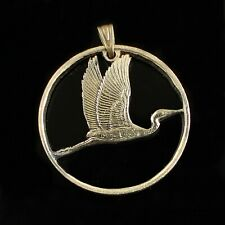 New Zeland 2 dollars White Heron Cut Coin Pendant Necklace. 1990 yr