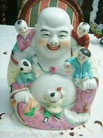 Antique Chinese Republic Famille Rose Porcelain Bisque Buddha With Children[2]