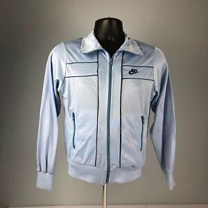 *RARE* VTG 70s 80s NIKE baby blue TRACK JACKET white/orange tag WOMENS LARGE