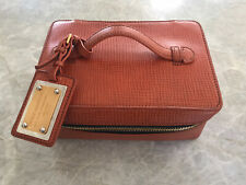 Dolce and Gabbana D&G Vanity Case Travel Make up cosmetic Box bag orange leather