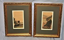 Pair of Vintage Hand Colored Steel Engraved Prints Gold Gilt Finish Frame