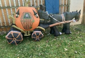 Gemmy Airblown INFLATABLE Halloween 11' PUMPKIN SKELETON REAPER Horse Carriage