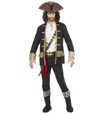 Mens Male Adult Pirate Captain Black Halloween Fancy Dress Costume Outfit M