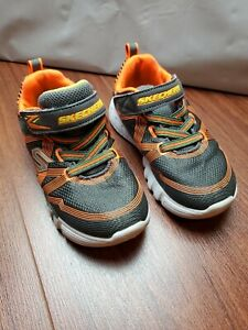 Skechers toddler boy 10 light up shoes gray orange sneakers tennis USED