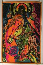 Vintage Black light poster Adam & Eve Jean Paul Mitchell religious 1970's pin-up