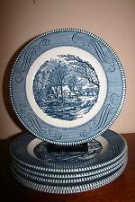 """Six Currier And Ives """"The Old Grist Mill"""" 10"""" Dinner Plate By Royal China"""