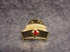 Nurses Nursing Nurse Hat Lapel Pin Brooch Gold Plated w/ White Enamel NOS New
