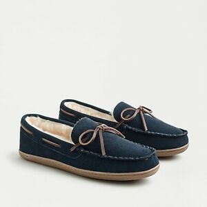 NWT J.Crew Suede Fur Moccasin Slippers Navy