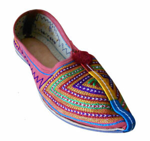 Women Shoes Indian Slip-Ons Flip-Flops Boho Banjara Pointy Flats Jutties US 6-9