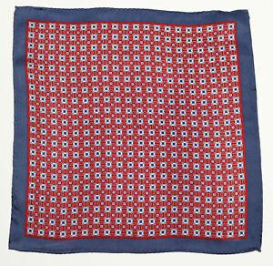 New Mens Bloomingdales 100% Silk Red Medallion Neat Handkerchief Pocket Square