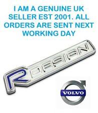 VOLVO BLUE/CHROME   'R DESIGN'   Metal Adhesive Badge Logo  Emblem.