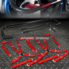 """BLACK 49""""STAINLESS STEEL CHASSIS HARNESS BAR+RED 4-PT STRAP CAMLOCK SEAT BELT"""